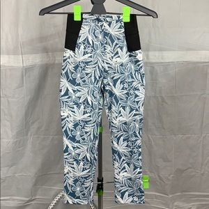 High Rise Floral Print Elastic Sides Cropped Pants